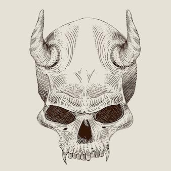 Devil skull engraving with outline