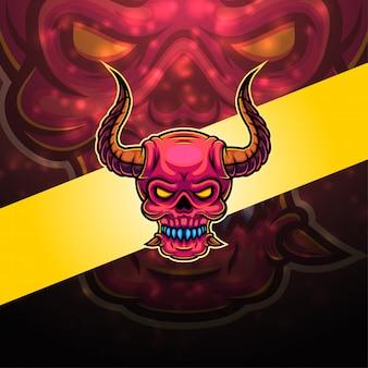 Череп дьявола дизайн логотипа талисмана киберспорта