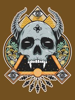 シャツデザインの悪魔の頭蓋骨