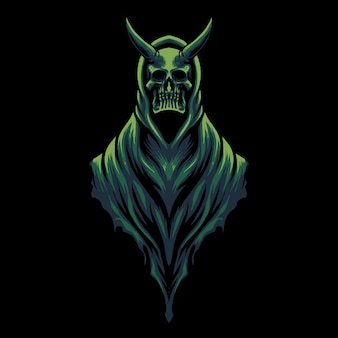 Devil skull head illustration