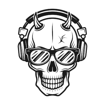 Devil skull head with horns wearing sunglasses