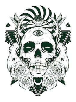 Devil skull for shirt design in black white concept