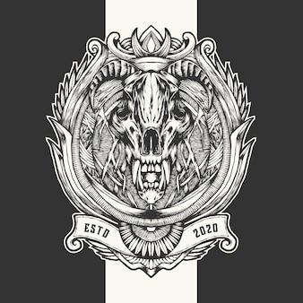 悪魔の頭蓋骨のヴィンテージ