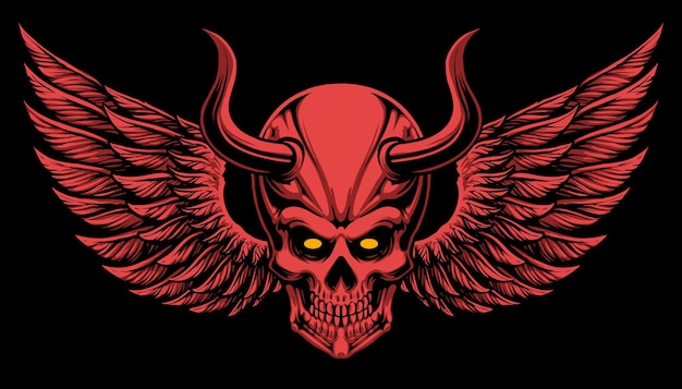 Devil skull with wings illustration