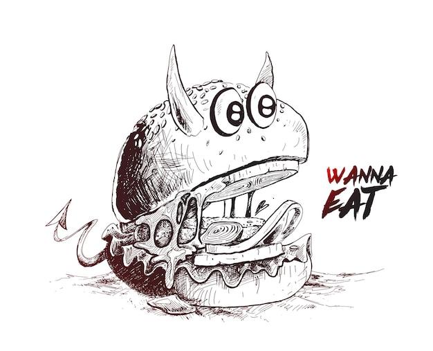 Devil style burger hand drawn sketch vector illustration