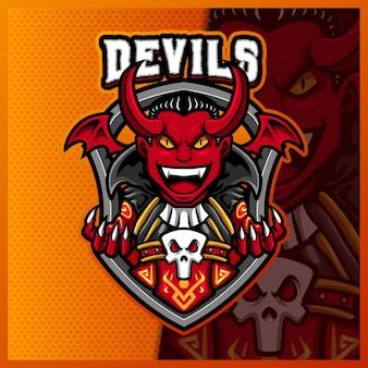 悪魔吸血鬼ホーンマスコットeスポーツロゴデザインイラストテンプレート、邪悪なロゴ