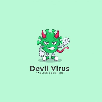 Devil virus angry pose illustration  logo