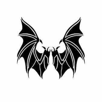 Devil wings logo tattoo design stencil vector illustration