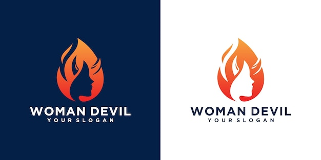 Дьявол женщина логотип сочетание женского лица и огня