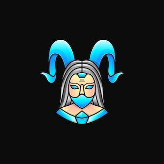 악마 여자 마스코트 로고, 마스크를 쓰고 발 정된 여자의 그림