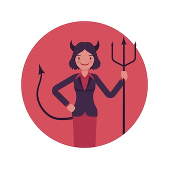 Devil woman in a red circle