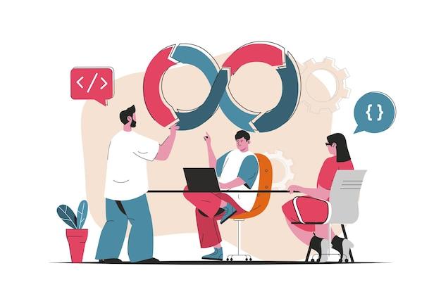 Devops concept isolated. software development in team, processes organization. people scene in flat cartoon design. vector illustration for blogging, website, mobile app, promotional materials.