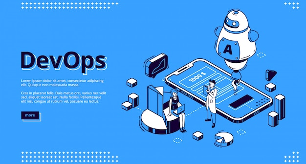 Devops isometric banner, development and operation