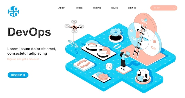 Devops isometric concept in 3d design for landing page
