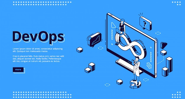 Devops isometric , development and operation