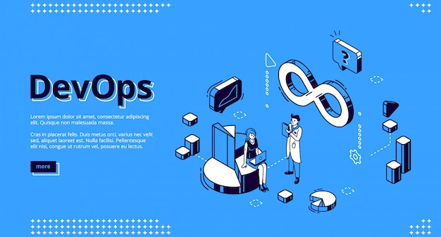 Devops isometric website design, development and operation