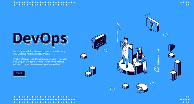 Devops isometric website, development and operation