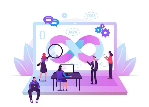 Сотрудничество специалистов devops. программисты и бизнесмены за огромным ноутбуком. мультфильм плоский иллюстрация