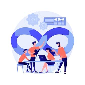 Devopsチームの抽象的な概念のベクトル図。ソフトウェア開発チームのメンバー、アジャイルワークフロー、devopsチームモデル、itチームワーク、プロジェクト管理、統合された実践の抽象的なメタファー。