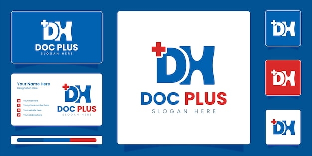 Dh initial letter logo doctor and medical logo with business identity vector design template Premium Vector
