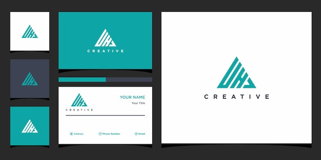 Dh logo design with business card template premium vector