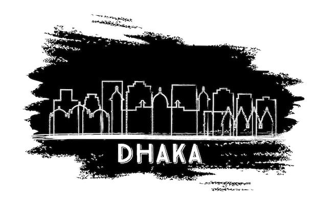 다카 방글라데시 도시의 스카이 라인 실루엣. 손으로 그린 스케치. 벡터 일러스트 레이 션. 역사적인 건축과 비즈니스 여행 및 관광 개념입니다. 랜드마크가 있는 다카 도시 풍경.