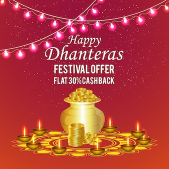 Dhanteras background with coin pot & diya
