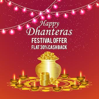 Dhanteras background with coin pot & diya