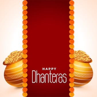 Dhanteras festival card with golden pots