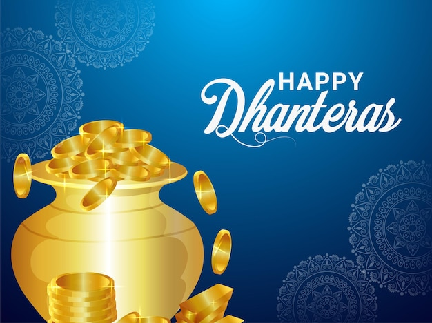 Dhanteras indian festival invitation greeting card with vector illustration of gold coin pot