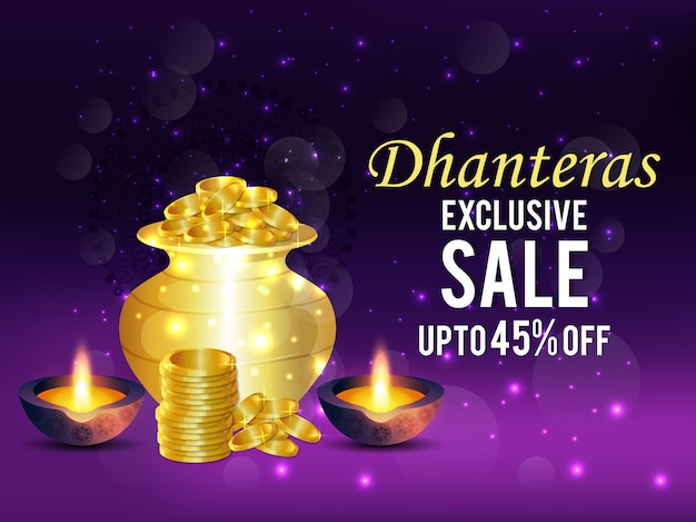 Dhanteras sale background with coin pot & diya