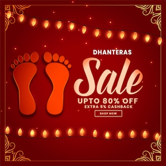 Dhanteras sale background with footprint