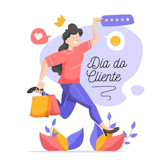 Dia do cliente with woman and shopping