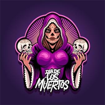 Логотип талисмана девушки dia de la muertos