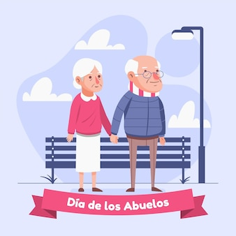 Dia de los abuelos celebration illustration