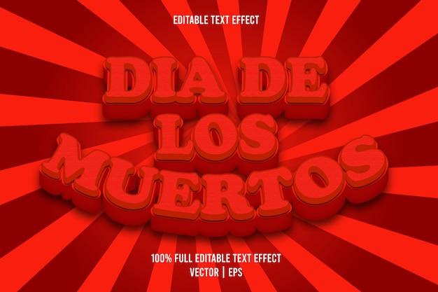 Dia de los muertos 3 dimension editable text effect red color