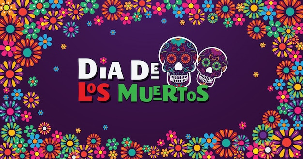 Dia de los muertos banner, skull decorated with colorful flowers