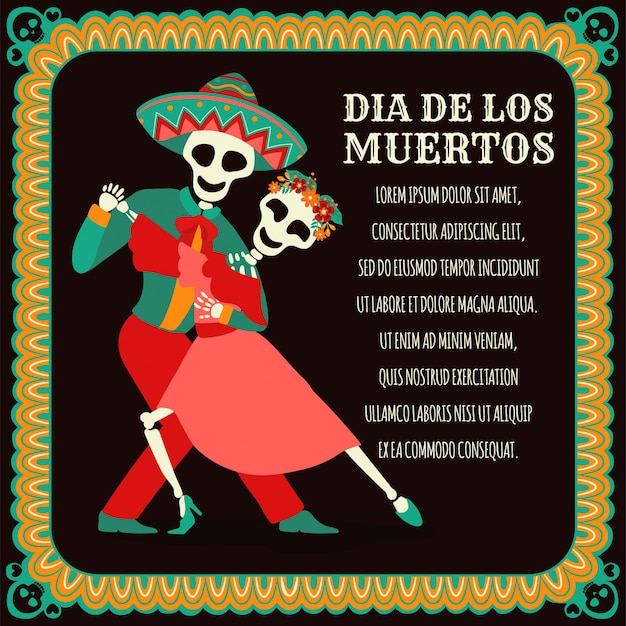 Dia de los muertos banner with colorful mexican flowers