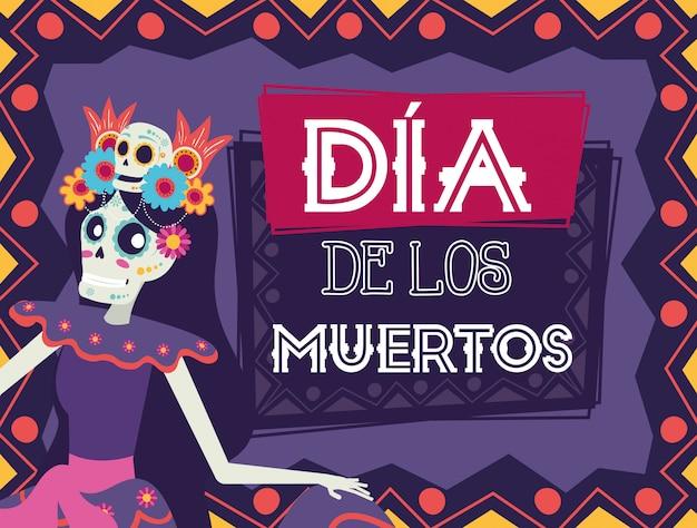 Dia de los muertos card with catrina character