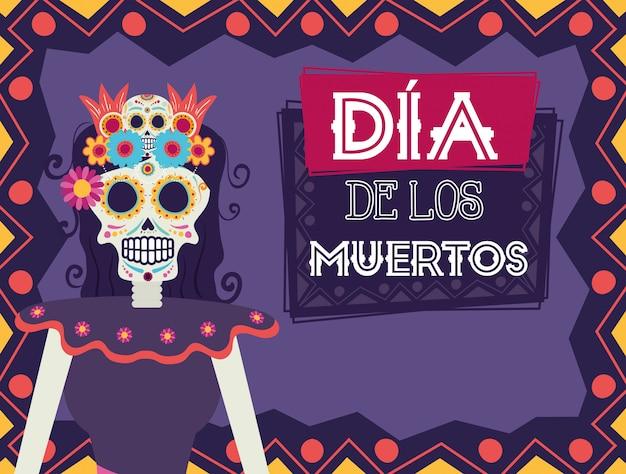 Dia de los muertos card with catrina skull character
