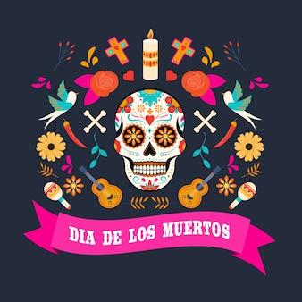 カラフルなメキシコの花とディアデロスムエルトスカード