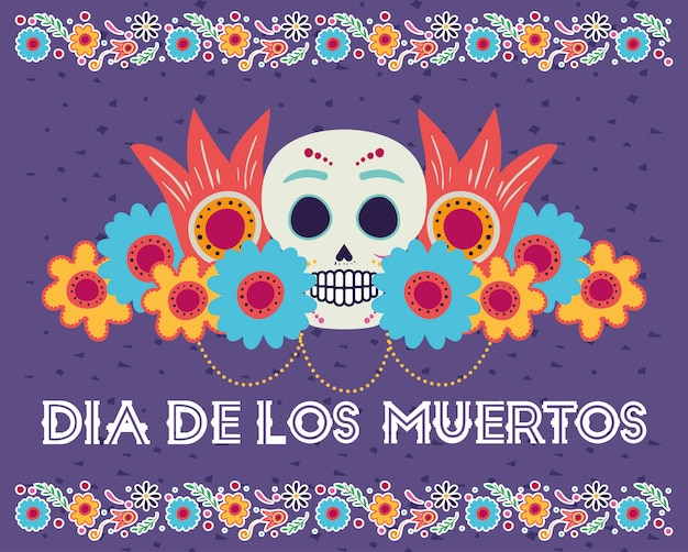 Dia de los muertos card with head skull and flowers