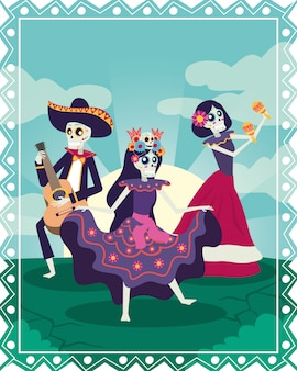 Dia de los muertos card with mariachi and catrinas skulls