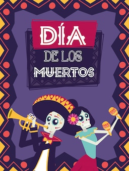 Dia de los muertos card with mariachi playing trumpet and catrina