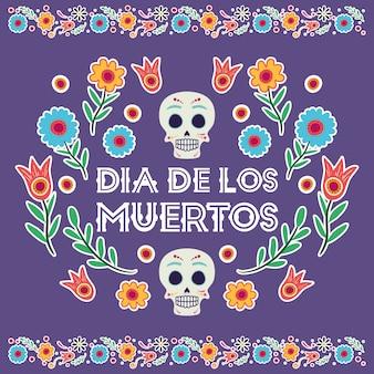 Dia de los muertos card with skulls masks and flowers