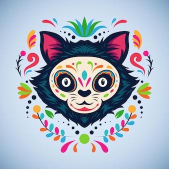 Dia de los muertos cat head ornament