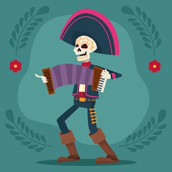 Dia de los muertos celebration card with mariachi skeleton playing accordion
