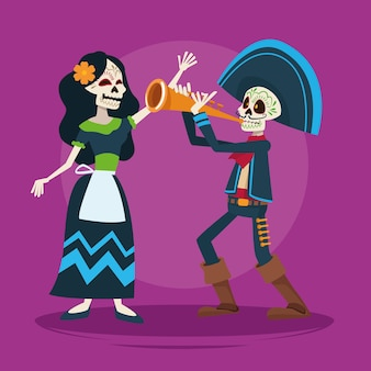 Dia de los muertos celebration card with skeletons couple and trumpet