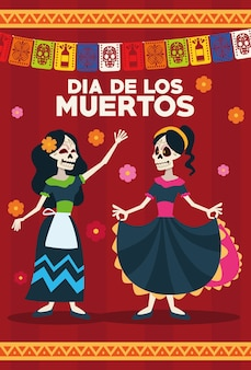 Dia de los muertos celebration card with skeletons girls and garlands