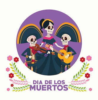 Dia de los muertos celebration card with skeletons group and flowers